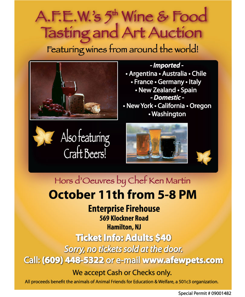 A.F.E.W.'s 5th Annual Wine & Food Tasting and Art Auction